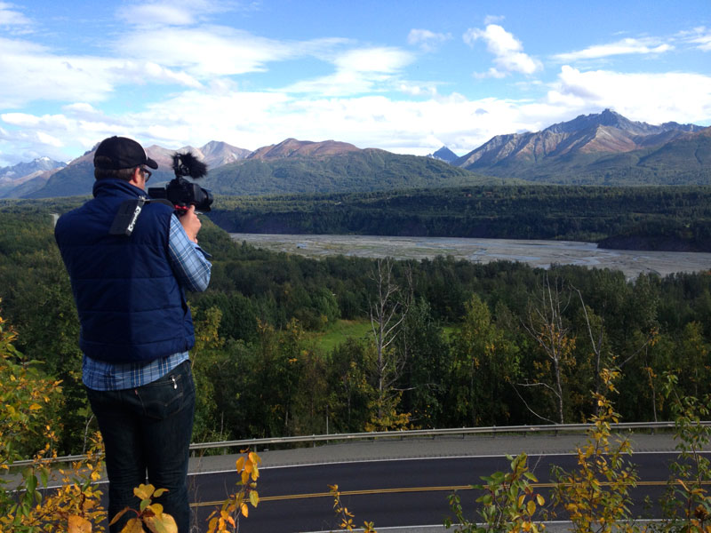 Travis shooting the fall scene above the highway by Sutton.