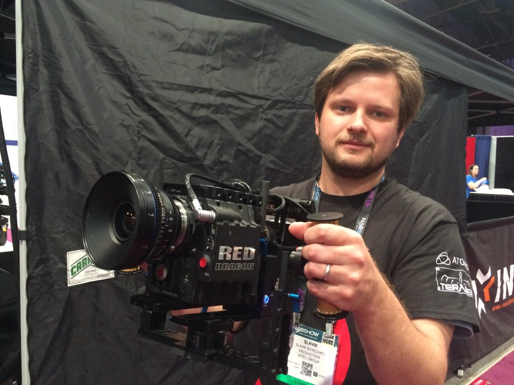 Me holding the Letus Helix Jr with a RED camera at NAB 2015.