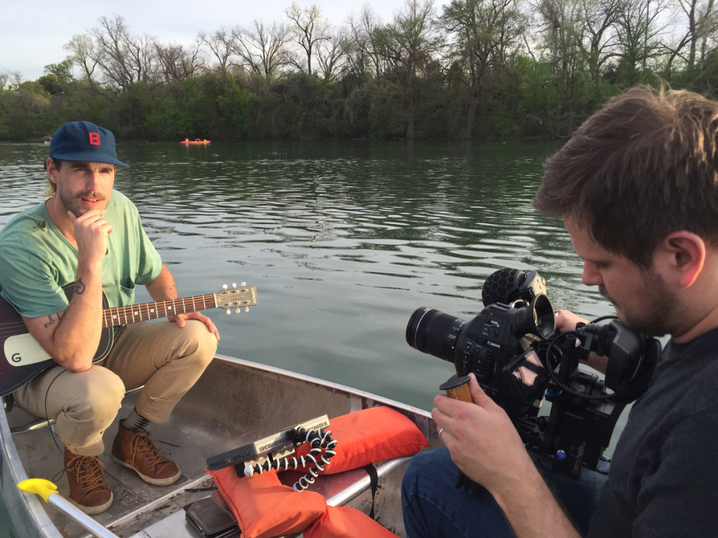 One Amaran lights up Rayland Baxter at SXSW 2016, for a music video shoot on a canoe.